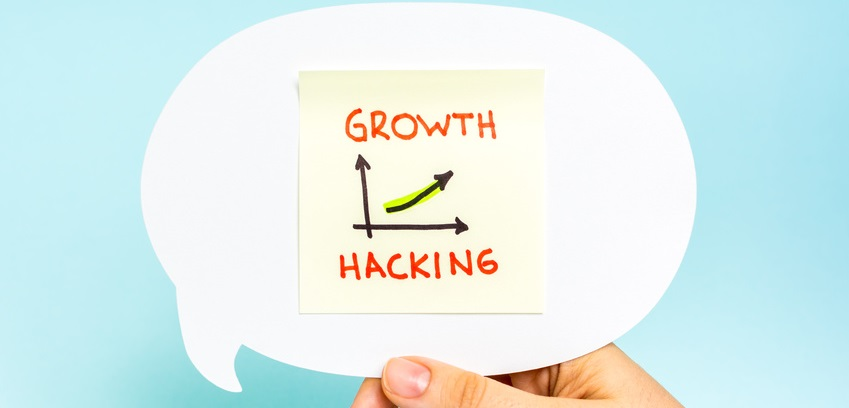 Business graph and chart of growth hacking. Marketing concept.